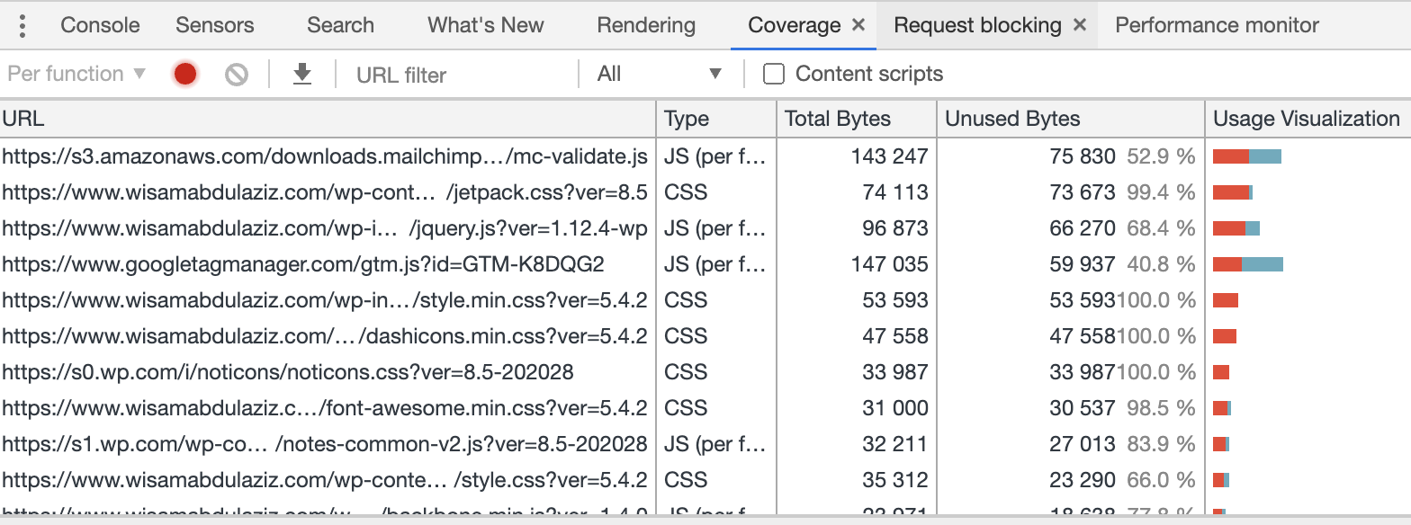 Coverage section chrome developer tools
